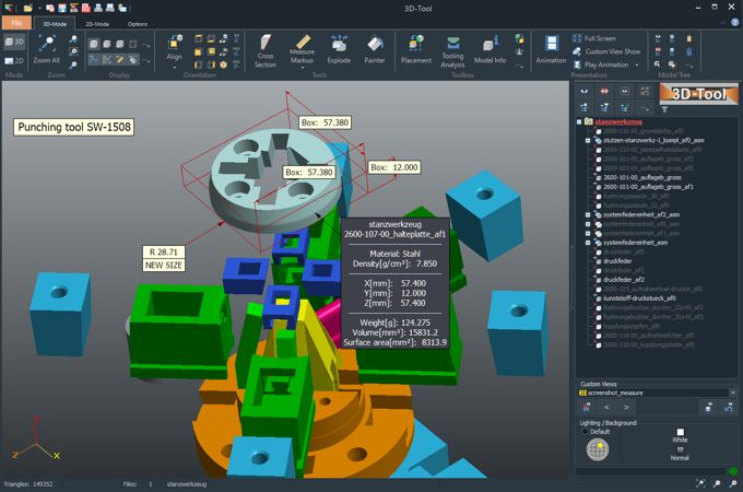 Extensive functions and tools in the 3D-Tool CAD Viewer