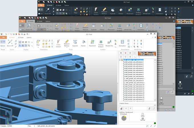 The 3D tool viewer for viewing and analyzing 3D CAD models