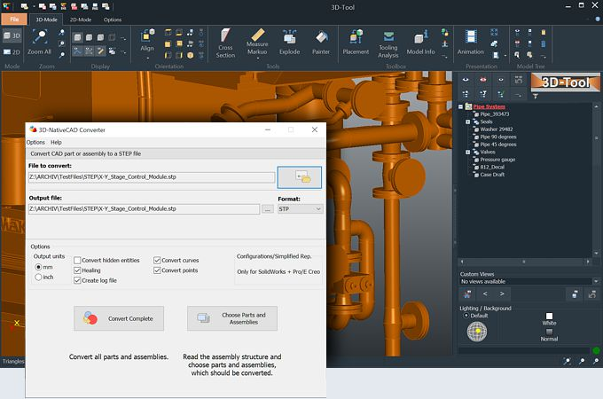 3D-Tool Premium and the 3D-NativeCAD Converter